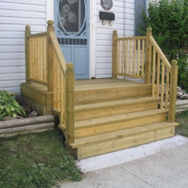 How to build a four step porch for a mobile home for Building an entryway addition