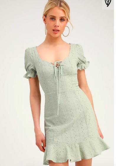Rapunzel Sage Green Eyelet Lace Mini Dress #sagegreendress