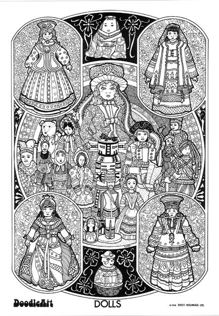 DOLLS doodle art colouring poster: This was uploaded by ...