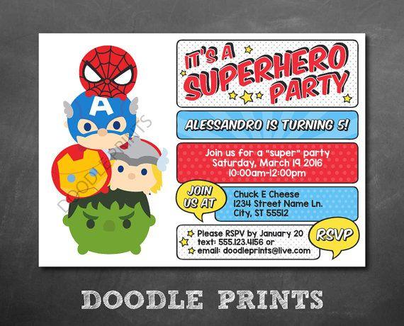 Tsum Tsum Avengers SuperHero Birthday Party Invitation Super Hero – Hulk Party Invitations