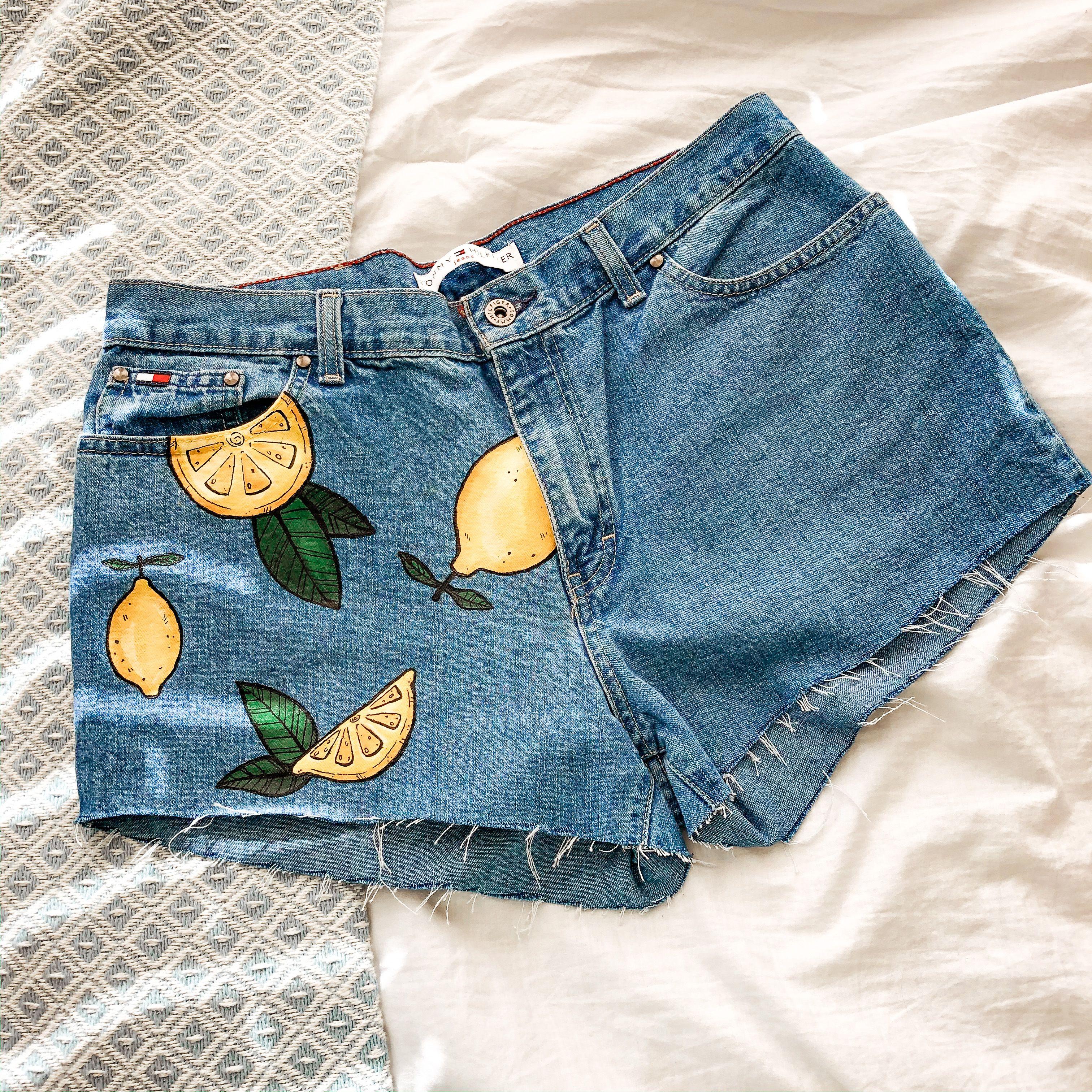 Haindpainted denim shorts size 28
