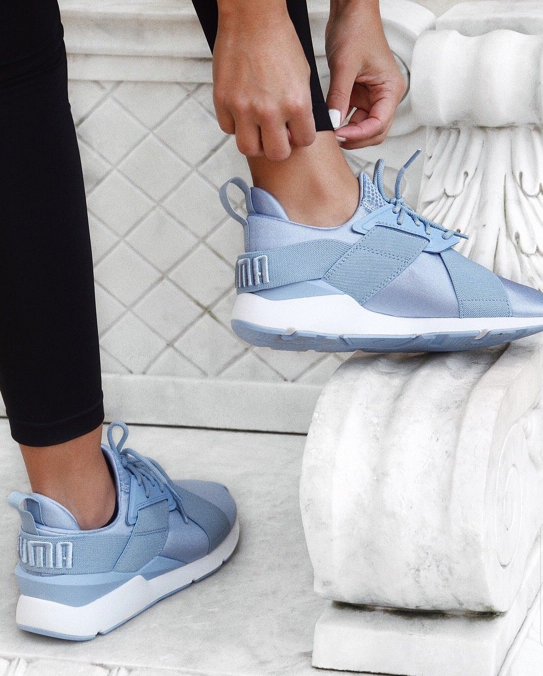 Puma Muse blue sneakers | Blue sneakers, Shoes sneakers, Shoes