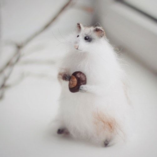 Good morning!❄️❄️❄️Hamster is made entirely by hand of high-quality mohair. Filled eco-friendly polyester fiber. Mobile hands and legs. A inside wire. His face and feet embroidered.  He sits up around 3.5 inches (9 cm).❄️❄️❄️ Доброе утро! Хомячок, как обычно, сделан из мохера, лапки, мордочка вышиты, внутри проволочный каркас. Дом нашел)