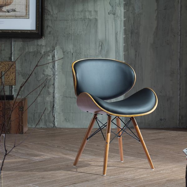 30 inch chair with walnut and black color finishes in - Walnut and black gloss living room furniture ...