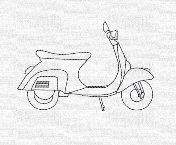 Vespa Machine borduurwerk Download 4 x 4 5 x 7 moderne