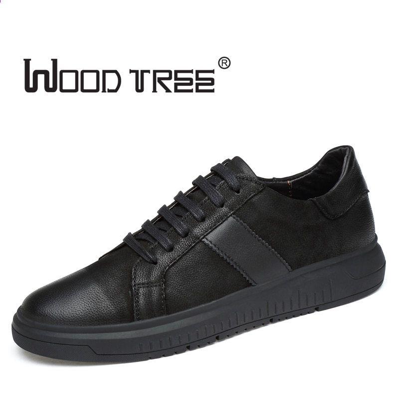 Woodtree Big Size Mieszkania Buty Wysokiej Jakosci Oryginalne Skorzane Meskie Obuwie Moda Oddychajace Meskie Buty Prawdziwe S All Black Sneakers Shoes Sneakers