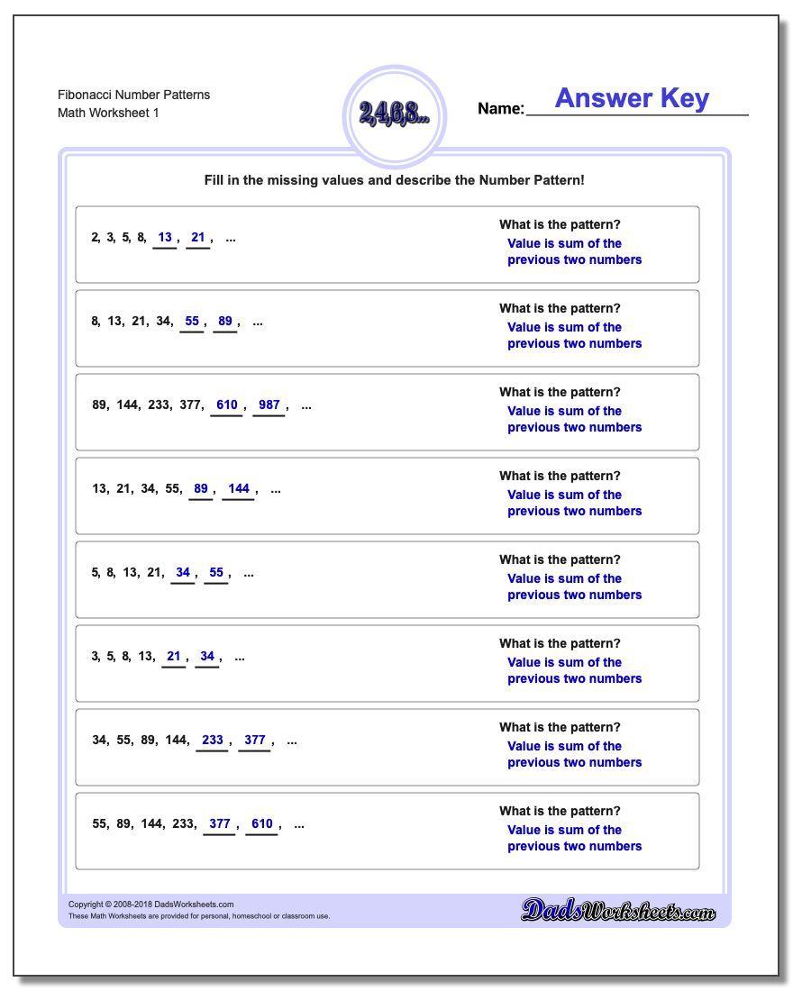 Number Patterns Fibonacci Number Patterns Pattern Worksheet Number Patterns Worksheets Number Patterns