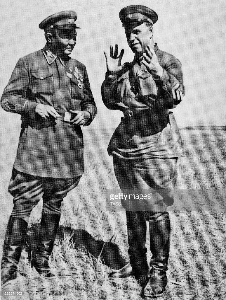 Mongolian People's Republic. Commander of the Mongolian Army, Marshal Khorloogiin Choibalsan (L) and First Soviet Army Group Commander Georgy Zhukov during the Battles of Khalkhyn Gol.