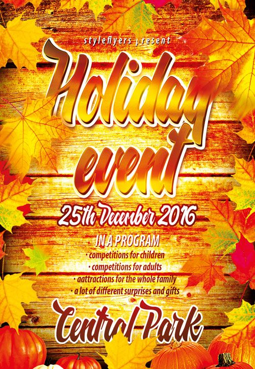 Autumn Holiday Event Free Flyer Template -   freepsdflyer