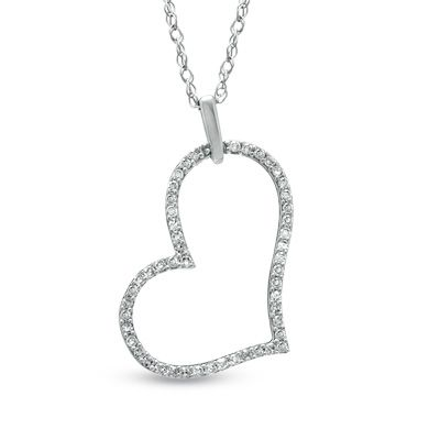 Zales Diamond Accent Tiny Tilted Heart Pendant in 10K White Gold OVm3JDcx8