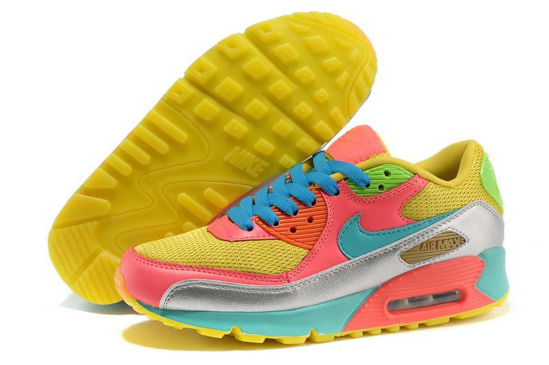 sports shoes 35749 80cb6 Nike Air Max 90 Womens Rainbow Shoes Yellow Pink Blue