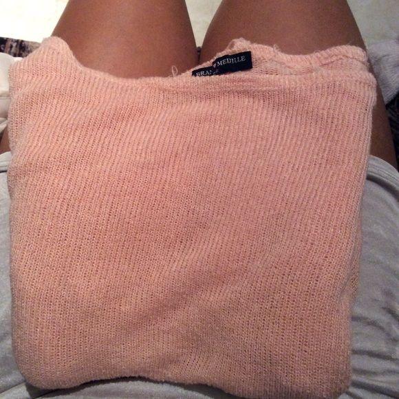 Pink Brandy Melville knit sweater Pink Brandy knit, in great condition :3 Brandy Melville Sweaters Crew & Scoop Necks