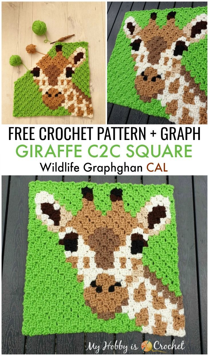 Free Crochet Pattern + Graph: Giraffe C2C Square - Wildlife Graphghan CAL Block 9