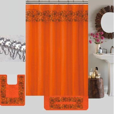 Latitude Run Berlin Shower Curtain Set Color Orange Teal
