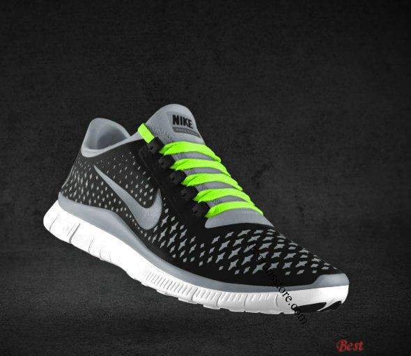 Cheapest Mens Nike Free 3.0 V4 Black Reflect Silver Cool Grey Fluorescent  Green Lace Shoes under