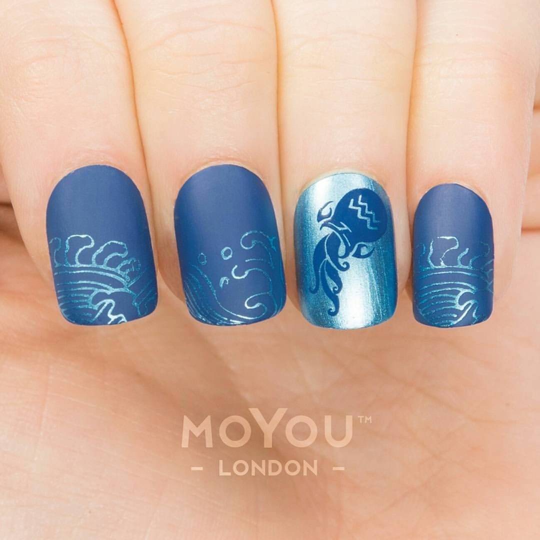 For All The Visionaries Unconventional Independent Aquarius Out There This Is For You Happy Birthday Zodiac Nail Designs Nail Art Zodiac Signs Nails