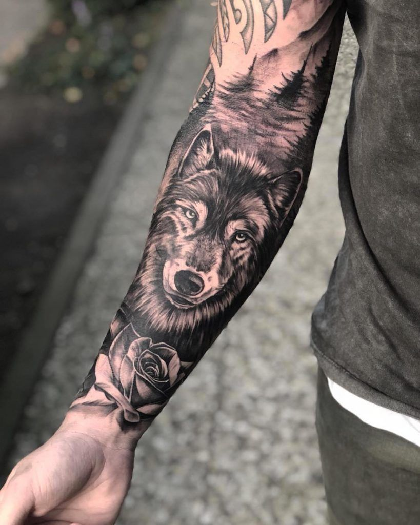 Top 100 Gorgeous Tattoo Ideas And Designs For Men Millions Grace Trash Polka Tattoo Wolf Water Color In 2020 Tattoos For Guys Wolf Tattoo Sleeve Forearm Tattoo Men