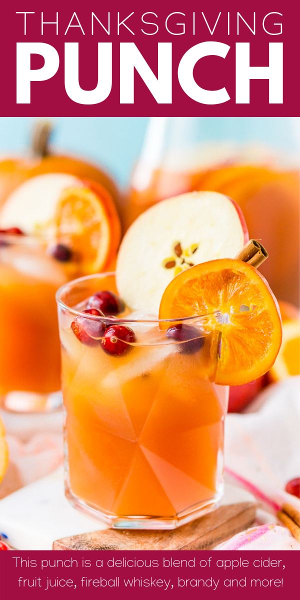 This Thanksgiving Punch made with apple cider, whiskey, fruit juice, brandy, and soda packs the delicious flavors of fall and winter in one delicious holiday drink recipe! #Thanksgivingpunch #thanksgivingdrink #Thanksgivingrecipe #Drinkrecipe #falldrinks