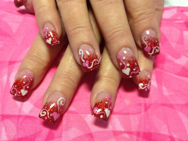 I Am Showcasing Inspiring Nail Art Designs U0026 Ideas Of 2014 For Valentineu0027s  Day. These Heart Nails Are So Cute And Adorable. Make Your Hands Look  Ravishing ...