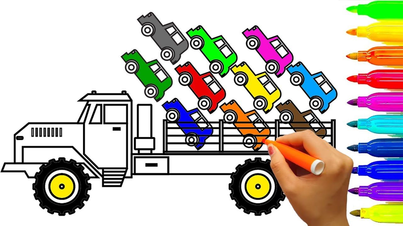 Learn Colors for Kids with Super Monster Truck Coloring Pages, Car ...