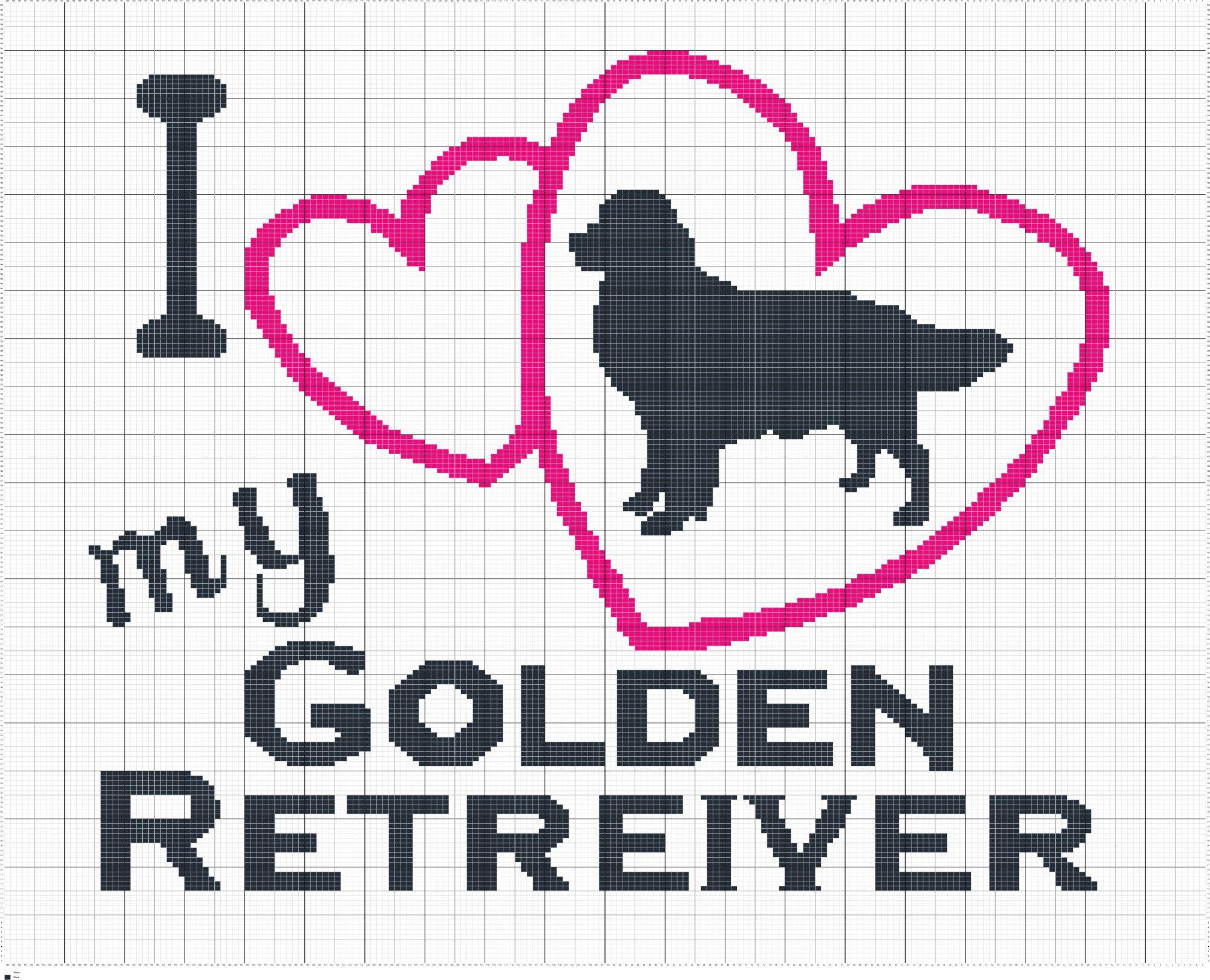Crochet I Love My Golden Retriever Crochet Knit Cross Stitch