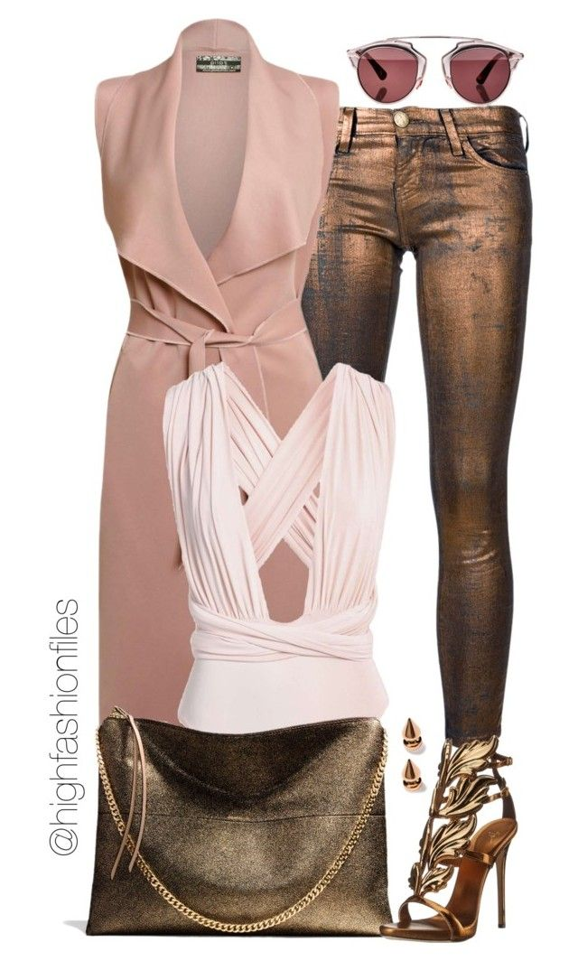 """""""Blush x Bronze"""" by highfashionfiles ❤ liked on Polyvore featuring Current/Elliott, Coach, Giuseppe Zanotti, Christian Dior and Mawi"""