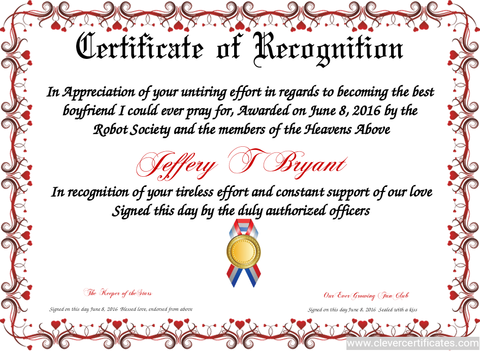Certificate Of Recognition Free Certificate Templates You Can Add