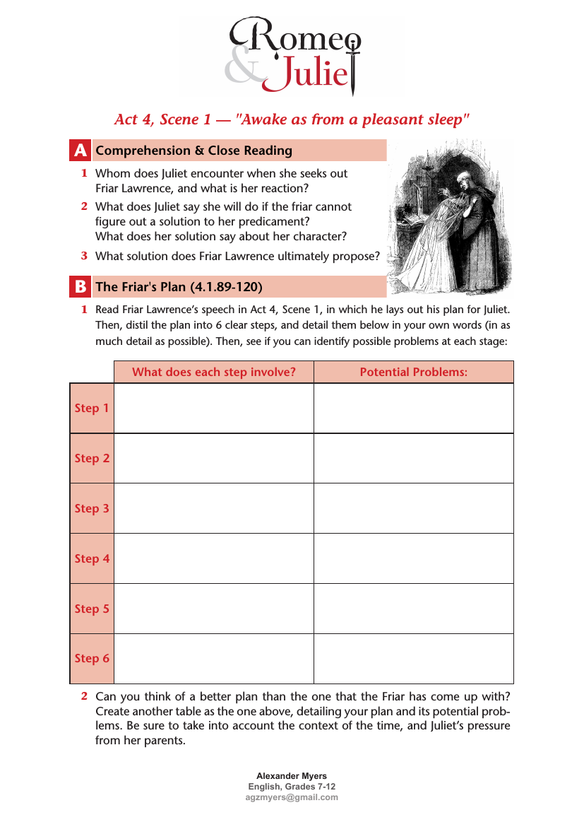Romeo And Juliet Igcse Act 4 Scene 1 The Friar S Plan Worksheet Answers Teaching Resources Teaching High Schools Romeo And Juliet Teaching