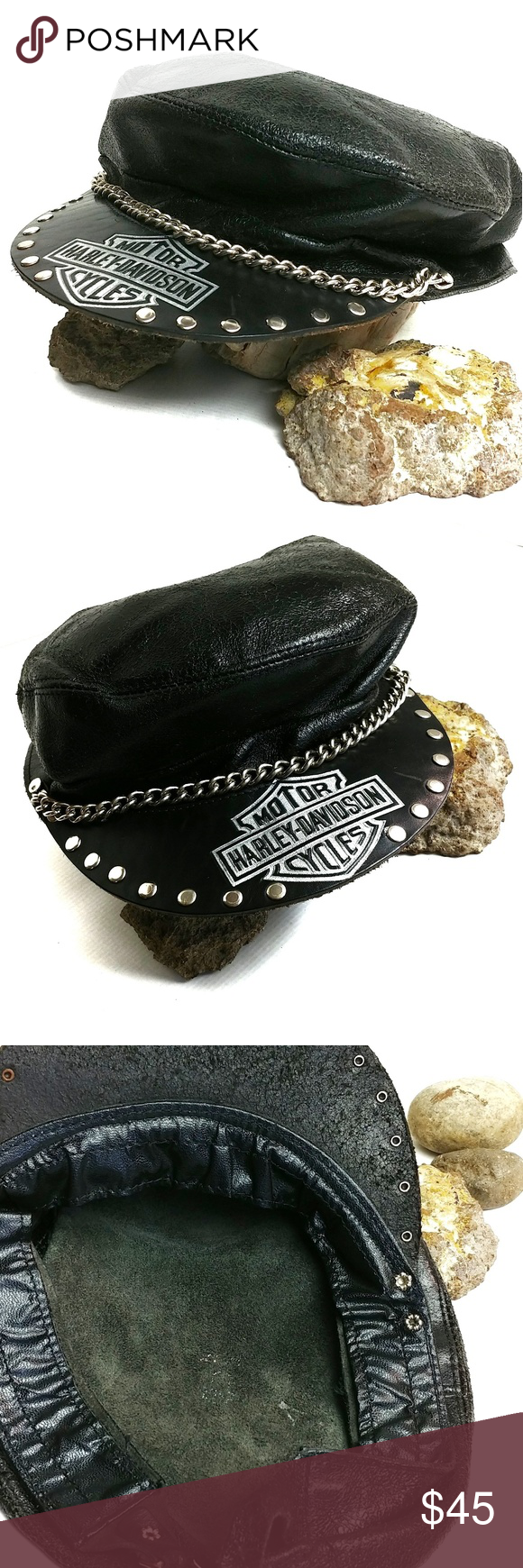 Harley Davidson Vintage Captains Hat Leather This vintage
