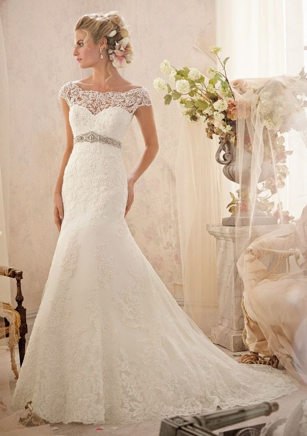 Charming BRIDAL GOWNS FROM MORI LEE BY MADELINE GARDNER 2620 Alencon Lace Appliqus  And Wide Hemline On Amazing Design