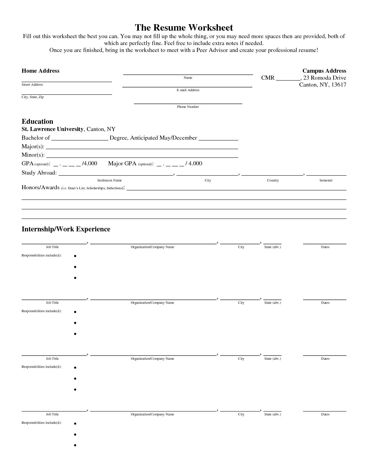 Resume Builder Worksheet Free Bulder Build Intended Using Your