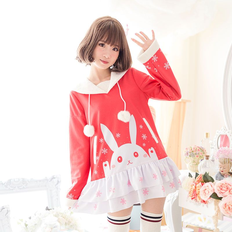 013179782 Cute Womens Clothing Dress on Girly Girl の To Alice.Girly Snow Rabbit  Pompon Dress Navy Style Knit Sweater Gg524 is a cute and unique girly  designer for ...