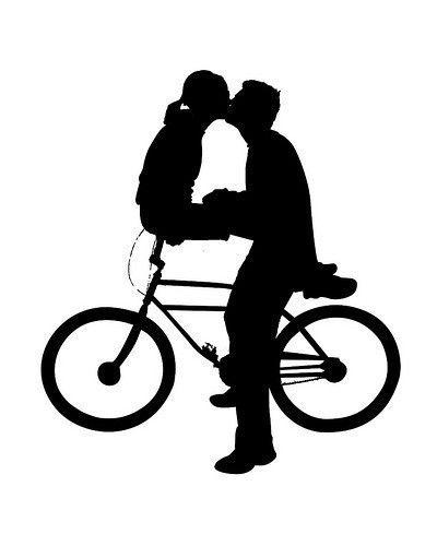 MAN BOY ON BICYCLE BIKE SILHOUETTE x 10 Die Cuts  Quality Black Card