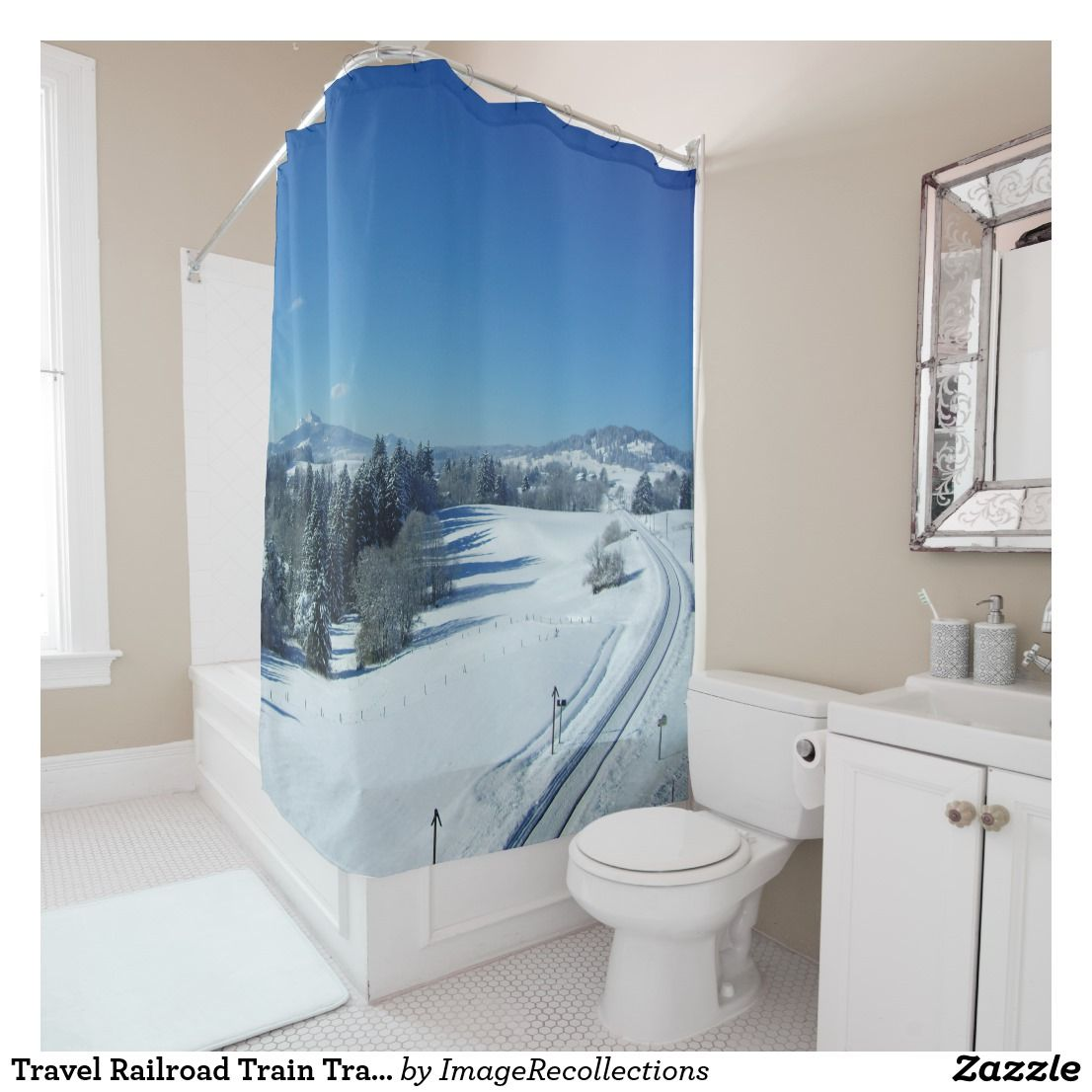 Travel Railroad Train Tracks Thru Snow Shower Curtain Zazzle Com