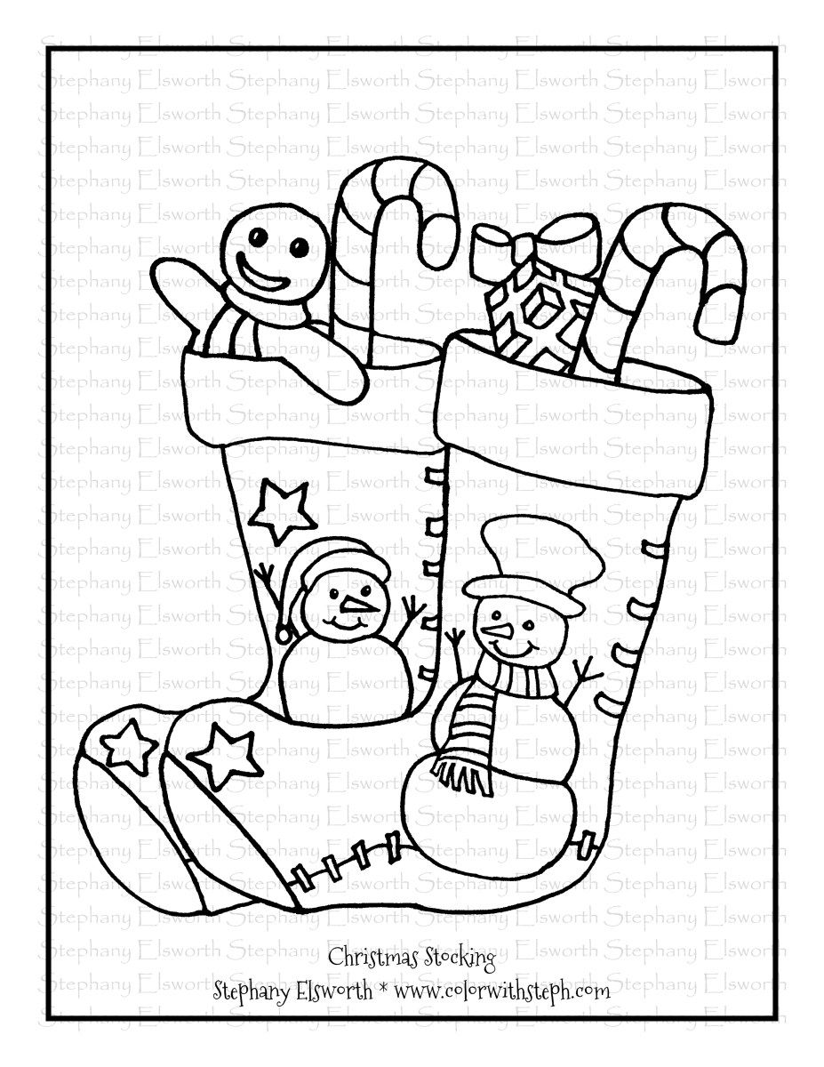Christmas Stocking Free Printable Coloring Page Free