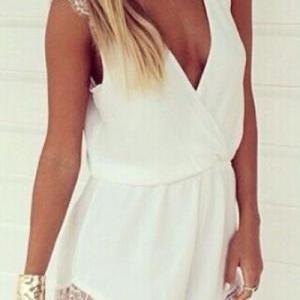 Deep V Neck Sexy White Lace..