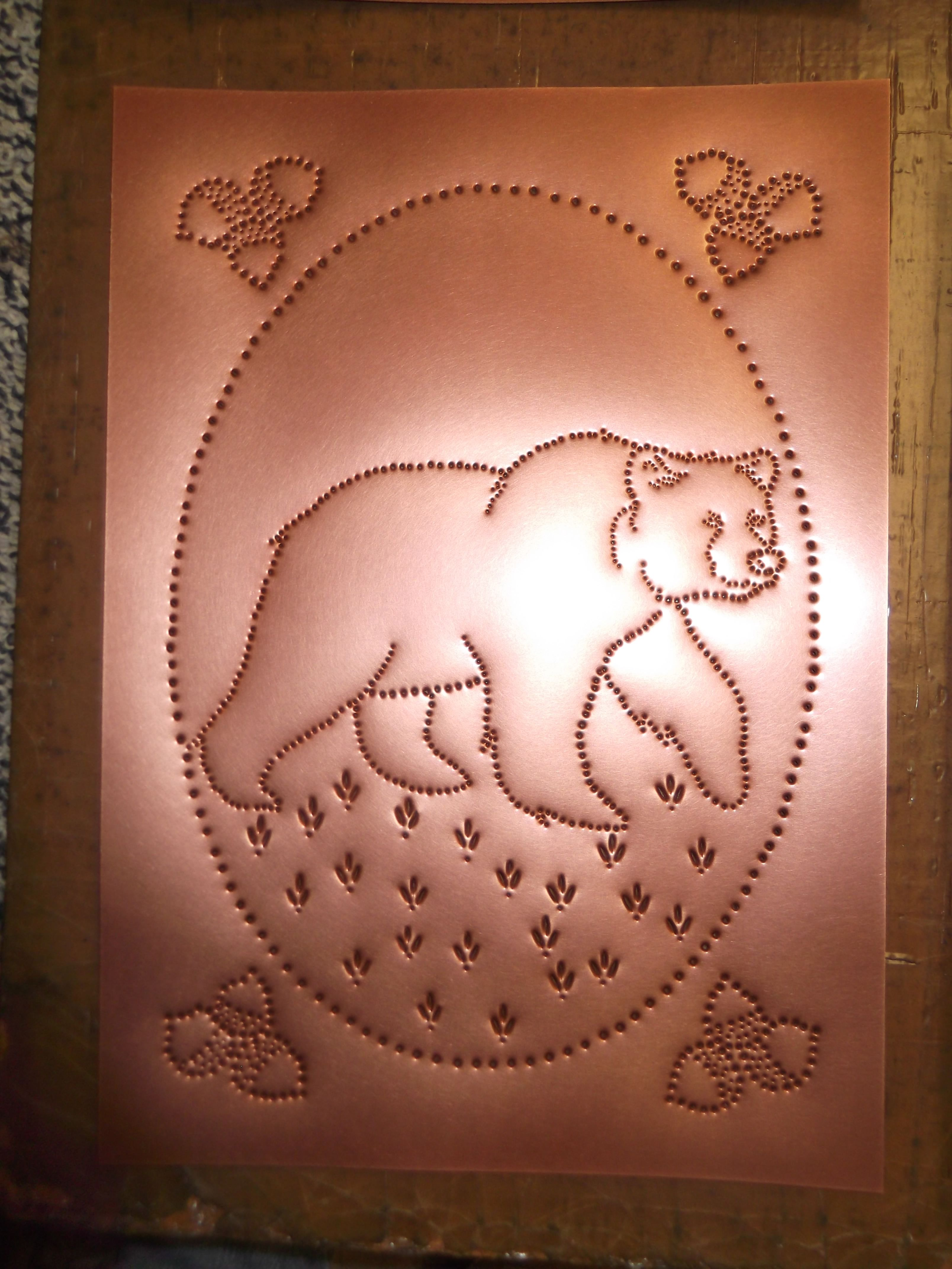 Bear Punched Tin On Copper With Acorn Corners Punched Tin Patterns Hole Punch Art Punched Tin