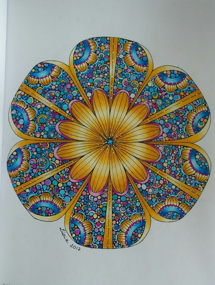 Finished page from Creative Coloring Mandalas by Valentina Harper ...