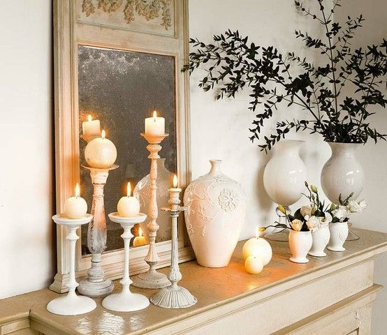 Pretty Mantle Display With White Candlesticks And Vases #Candle