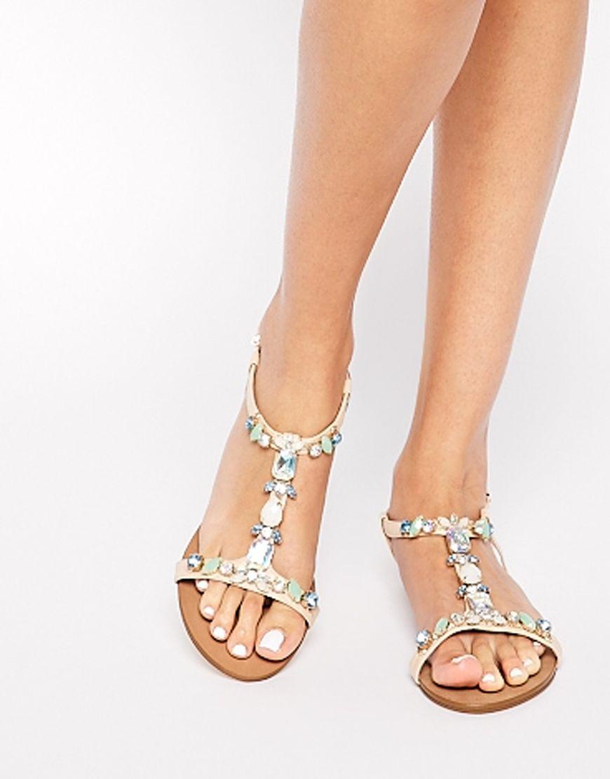 Dune Natallie Embellished Flat Sandals at asos.com