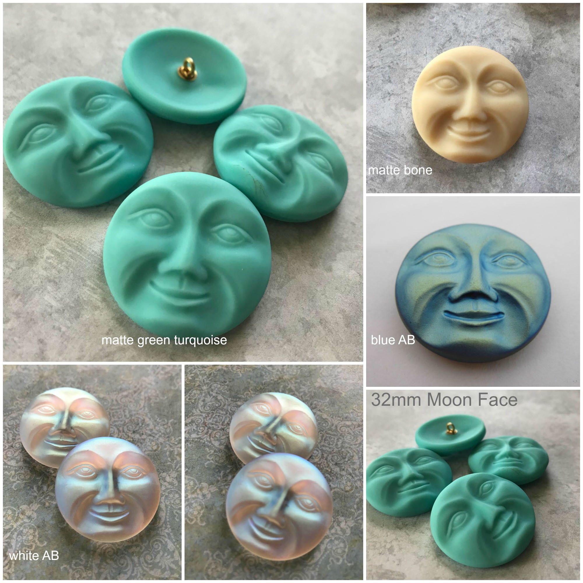 Czech Glass Moon Face Button