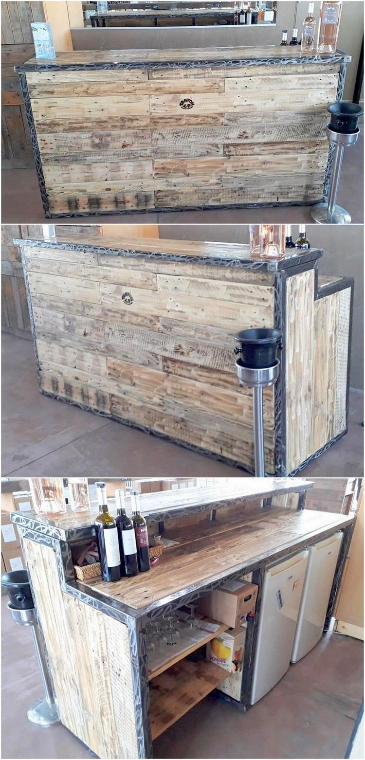 You Have Bar Business Or You Want This Wooden Pallet Wine Bar Counter For Your Home Then You Have No Wood Pallets Wood Pallet Projects Woodworking Projects Diy
