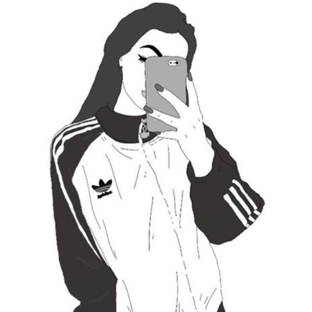 adidas, outlines and girl black and white image on We Heart It