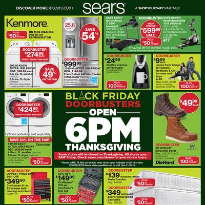 View the Sears Black Friday 2016 Ad with Sears deals and sales