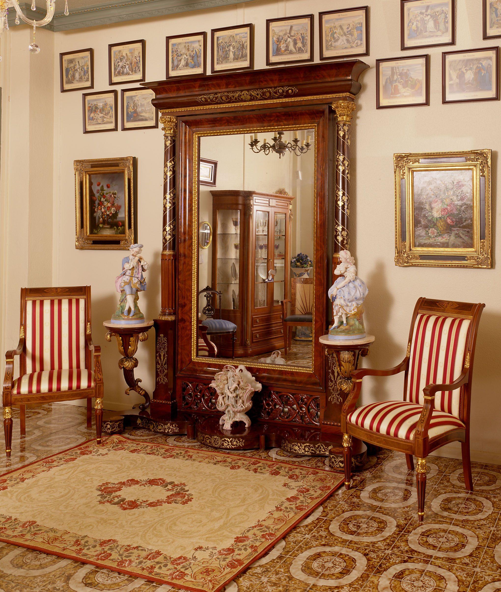 Espejo Para Entrada Con Incrustaciones De Latón En Madera De Caoba Con Pedestales Home Decor Furniture Home