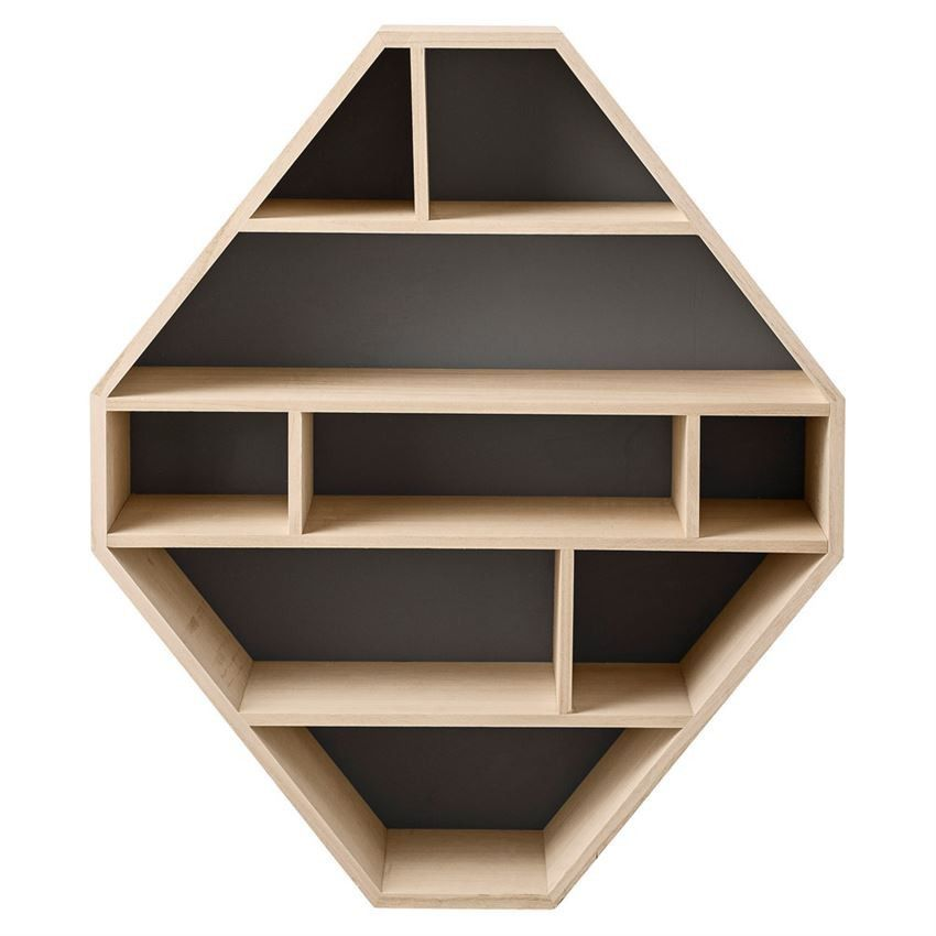 natural and matte grey diamond shaped wooden bookcase - Wooden Bookcases