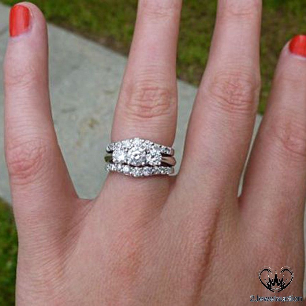 White Gold Over Three Stone Diamond 3pcs Engagement Ring Wedding Band Bridal Set 2jewelauction