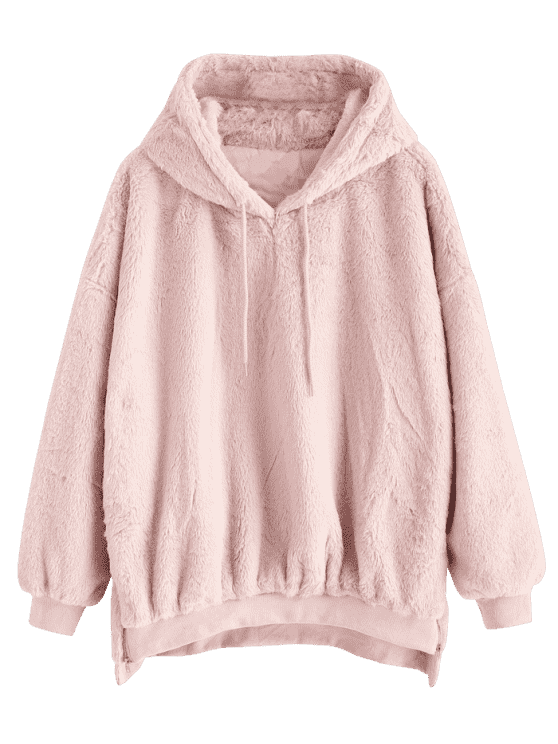 abbc2836983716 Zipper Embellished Faux Fur Hoodie - PIG PINK ONE SIZE. A faux fur  drawstring hoodie featuring a cropped hem