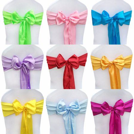 Grtsunsea 10pcs 108 2 Inchx5 51 Inch Satin Chair Sash Bow Cover For Wedding Party Engagements Formal Events Decoration Green Wedding Chair Sashes Blue Party Decorations Wedding Sash