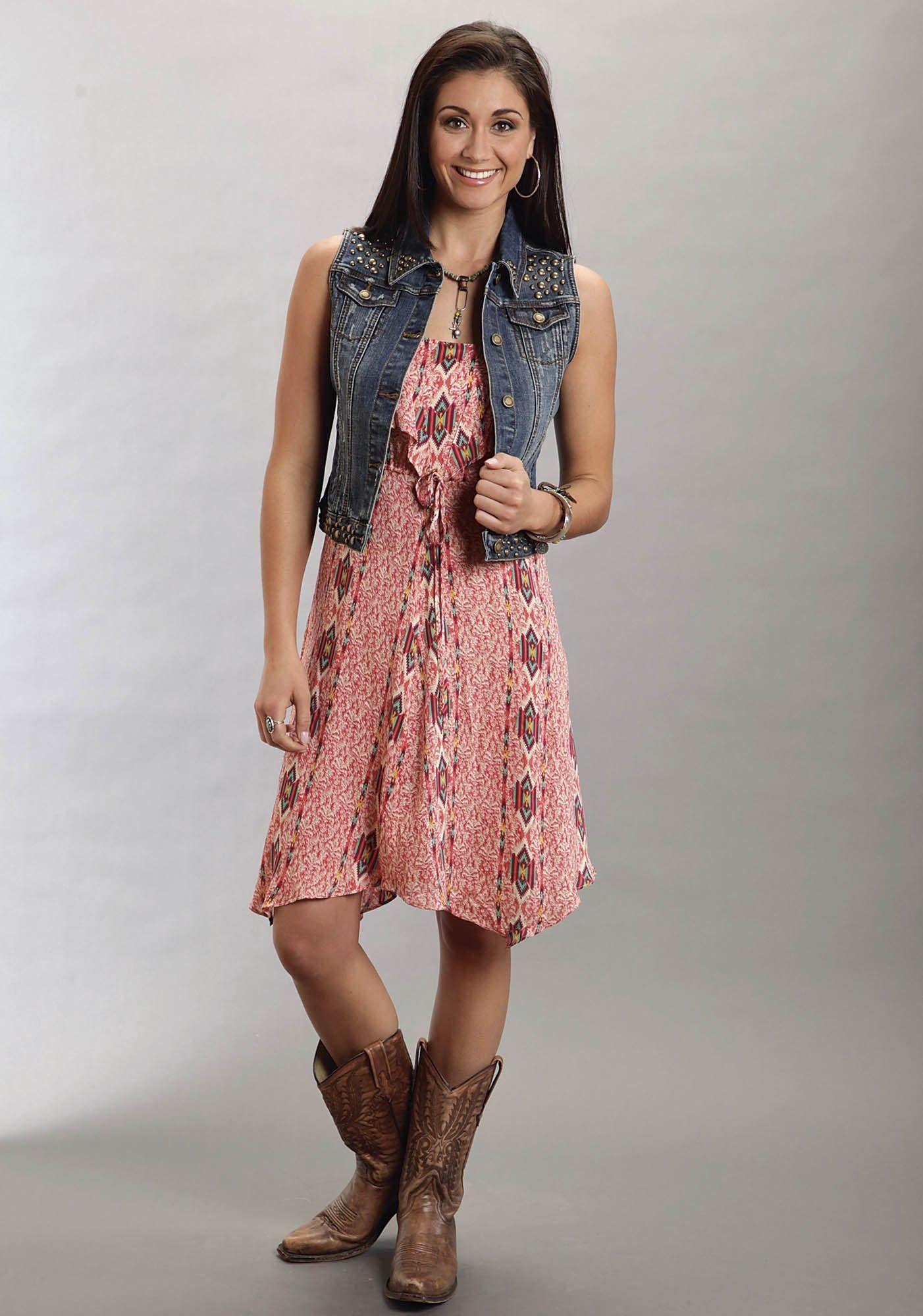 0db62129ebf Stetson® Coral Aztec Print Sleeveless Handkerchief Hem Western Dress ...